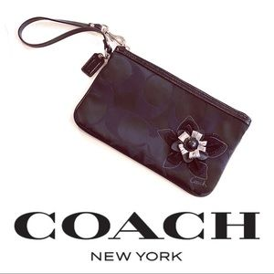 Large Coach Wristlet Clutch w/3D Flower  #GWB2